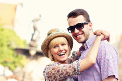 Young happy tourists stock images