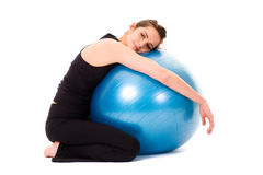 Young happy, very attractive female, fitness ball Royalty Free Stock Photo