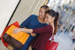 Young happy and wealthy women shopping. Teen Stock Image