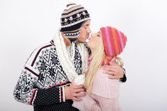 Young happy winter couple in love Royalty Free Stock Image