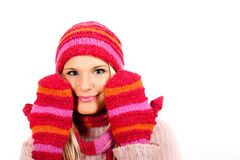 Young happy winter woman in pink gloves Royalty Free Stock Photo