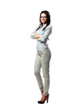 Young happy woman with arms folded Royalty Free Stock Images