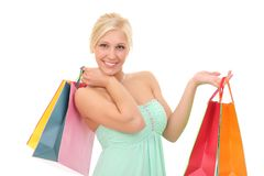 Happy woman with bags for shopping. Young happy woman with bags for shopping Stock Photos