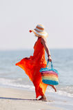 Young happy woman on the beach in summer Royalty Free Stock Photo