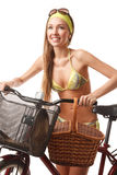 Young happy woman on bicycle Royalty Free Stock Photography
