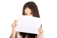 Young happy woman with blank board. Stock Image