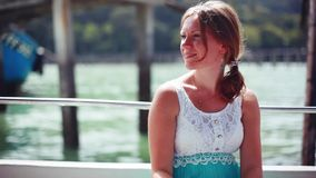 Young happy woman on boat Cruise ship. Young woman traveling on vacation travel sailing on sea ocean. 1920x1080. Young woman on boat Cruise ship. Young woman stock video footage