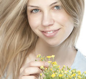 Young happy woman with bouquet Royalty Free Stock Photo
