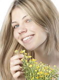 Young happy woman with bouquet royalty free stock image