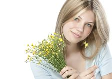 Young happy woman with bouquet Stock Photo