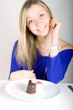 Young happy woman with cake Royalty Free Stock Photography