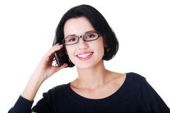 Young happy woman is calling Royalty Free Stock Image