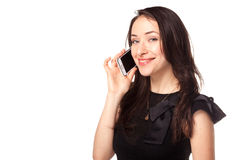Young happy woman calling using mobile phone Stock Images