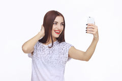 Young happy woman with cellphone Stock Photo