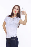 Young happy woman with cellphone Stock Image