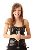Young happy woman with champagne Stock Photos