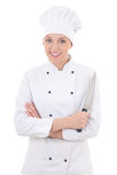 Young happy woman in chef uniform holding knife isolated on whit Stock Image