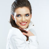 Young happy woman. Close up face. Isolated white background. Royalty Free Stock Photography