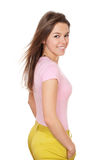 Young happy woman in colorful Stock Photo