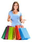 Young happy woman with colorful paper shopping bags Stock Images