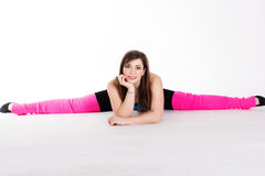 Young happy woman does fitness exercise Stock Image