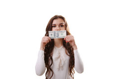 Young happy woman with dollars in hand. Isolated on white backgr Royalty Free Stock Image