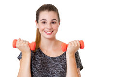 Young, happy woman with dumbbells Stock Photos
