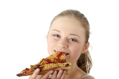 Young happy woman eating pizza Stock Image