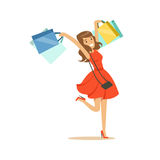 Young happy woman in an elegant red dress having fun with shopping bags colorful character vector Illustration Royalty Free Stock Photo