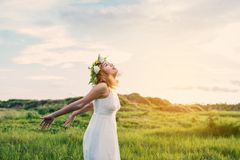 Young Happy Woman Enjoying Nature. Young Happy Woman Enjoying Nature background Royalty Free Stock Photo