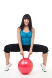 Young happy woman exercise with sport ball Stock Images