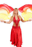 Young happy woman with fantail Stock Image