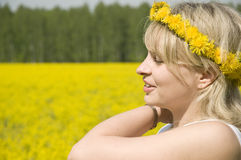 Young happy woman in field Royalty Free Stock Photography