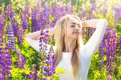 Young happy woman on the field. Beautiful blonde young woman in a field with blooming lupines royalty free stock image