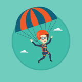 Young happy woman flying with parachute. Stock Photo