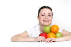Young happy woman with fruits Royalty Free Stock Photo
