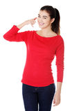 Young happy woman gesturing Stock Image