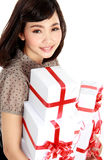 Young happy woman with gift box Stock Photos