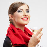 Young happy woman with glass. Royalty Free Stock Photo