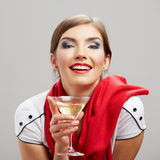 Young happy woman with glass. Stock Photos