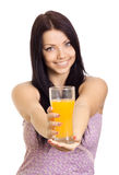 Young happy woman with glass of juice Stock Photo