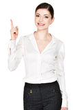 Young happy woman with good idea sign Stock Images
