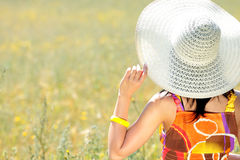 Young happy woman in grain field Stock Photography