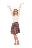 Young happy woman with hands up Royalty Free Stock Photo
