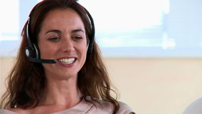 Young happy woman having communication stock footage