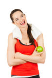 Young happy woman holding apple Stock Image
