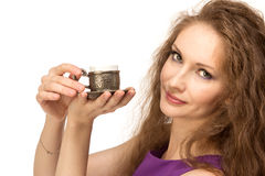 Young happy woman holding a coffee cup isolated Stock Image