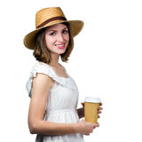 Young happy woman holding a disposable cup Royalty Free Stock Images