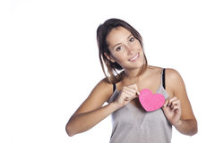 Young happy woman holding heart. Valentine day concept Stock Photography