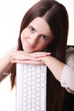 Young Happy Woman Holding keyboard Over White Background Stock Photo